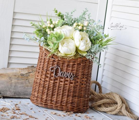 Rustic Door Basket Wicker Hanging Wall Basket Interior Coffee Brown Basket For Flowers Cottage Wall Decor Basket Hanging Basket Rustic