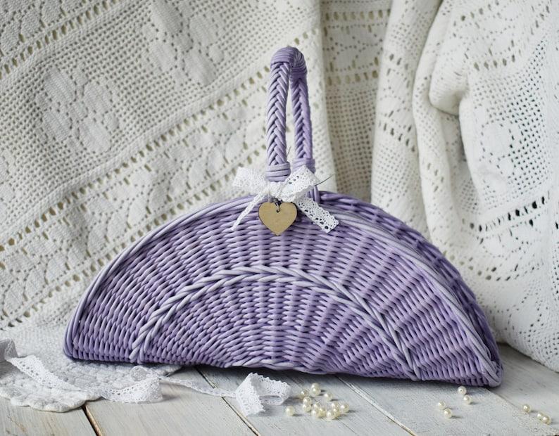 2208fbe1e91 Lavender wedding basket for flower girl Bridal shower