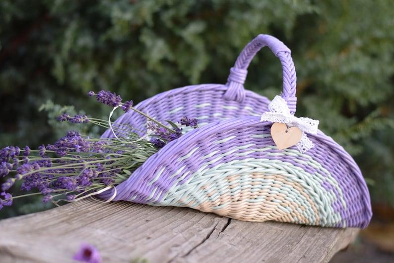 7ada368e04c Flower girl basket Lavender wedding Shabby chic room decor