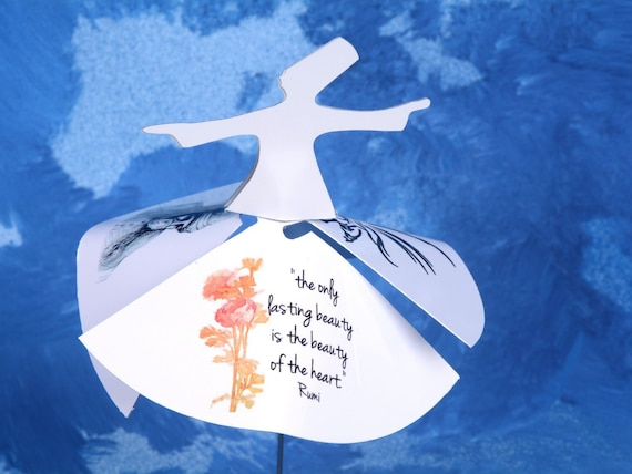 Whirling Dervishes with Rumi Quotes Poems Sufi Mystic Love, American Native  Dance Figurine for Spiritual Healing, Sufism for Feng Shui