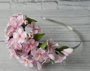 045146c382a Blush Flower Crown Cherry Blossom Floral Hair Crown Sacura Cherry Apple Blossom  Wedding Flowers Bridal Flower Crown Flower Baby Flowers