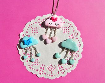 Pink or blue cloud with rain of hearts necklace, pendant, favor cloud baptism birth gift