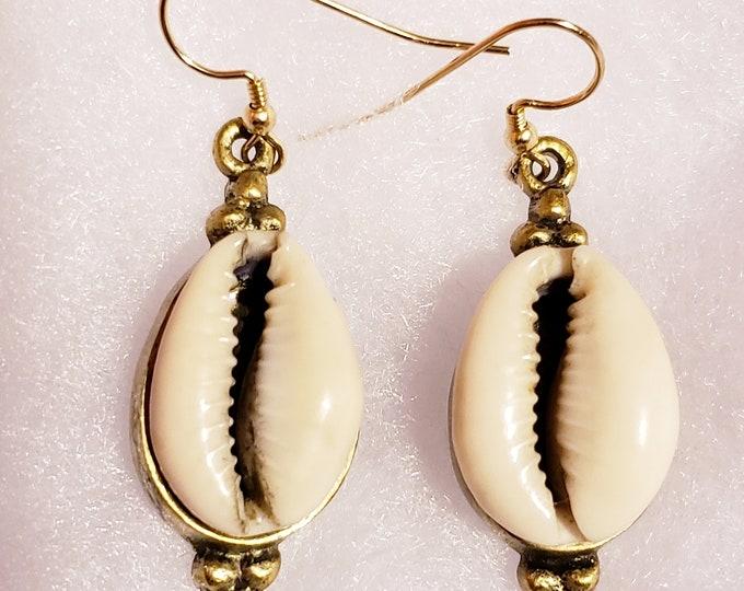Joyfulheads Cowrie Shell Earrings, Brass Earrings, Boho earrings, Natural earrings, Stylish earrings
