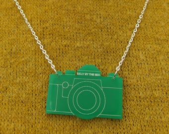 "Green Laser Cut Acrylic Camera Necklace 20"" Silver Chain"