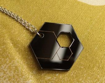 "Black Laser Cut Acrylic Hexagon Necklace 20"" Silver Chain"