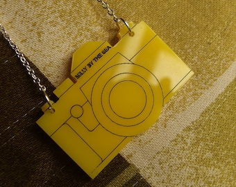 "Yellow Laser Cut Acrylic Camera Necklace 20"" Silver Chain"