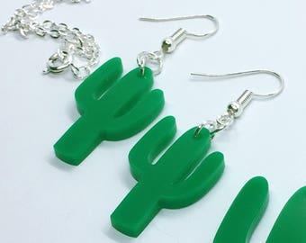Multiple Colours Available Cactus Acrylic Plastic Laser Cut Earrings