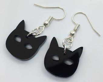 Black Cat Acrylic Plastic Laser Cut Earrings