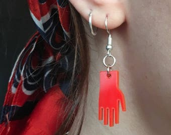 Multiple Colours Available Hand Acrylic Plastic Laser Cut Earrings
