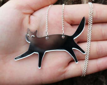 """Mirror Silver Laser Cut Acrylic Cat Necklace 20"""" Silver Chain"""