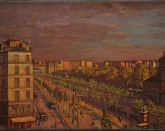 "Paris Street Scene- Sunset circa 1927 (23"" x 32"")"