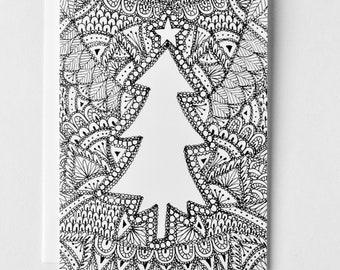 Christmas Card, Hand Drawn Christmas Tree, Holiday Card