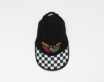 Retrò anni 1990 Cappellino per gli uomini       camionista nero vintage con  motivo a quadri       90s controllato Cappellino da uomo 4a0d8c6ab397