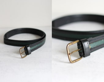4589a3d56fa44 Vintage 80s belt in black and green color for men and women