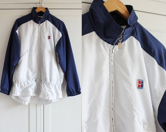 c852c433dd7c 90s NIKE Vintage windbreaker in white and blue color   Retro sport jacket  from 1990s   size XL