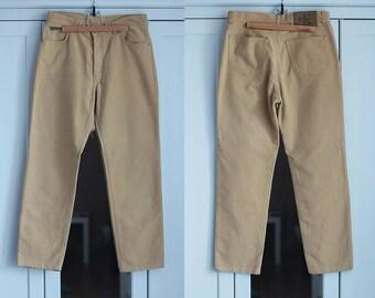 c78bff98fcc00 Calvin Klein Vintage Trousers Jeans Beige Ecru High Waisted Fit Pants  Classic Unisex Men Women Clothing High Fashion   W31   Large size
