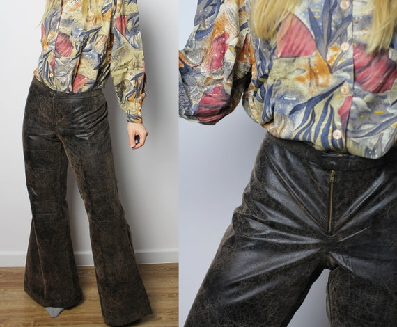 Leather bell bottoms with low rise, Vintage hippie