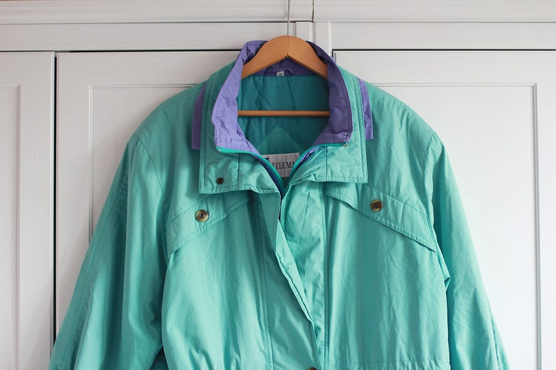 2d6b58489 Vintage 90s jacket in turquoise and purple color Oldschool | Etsy