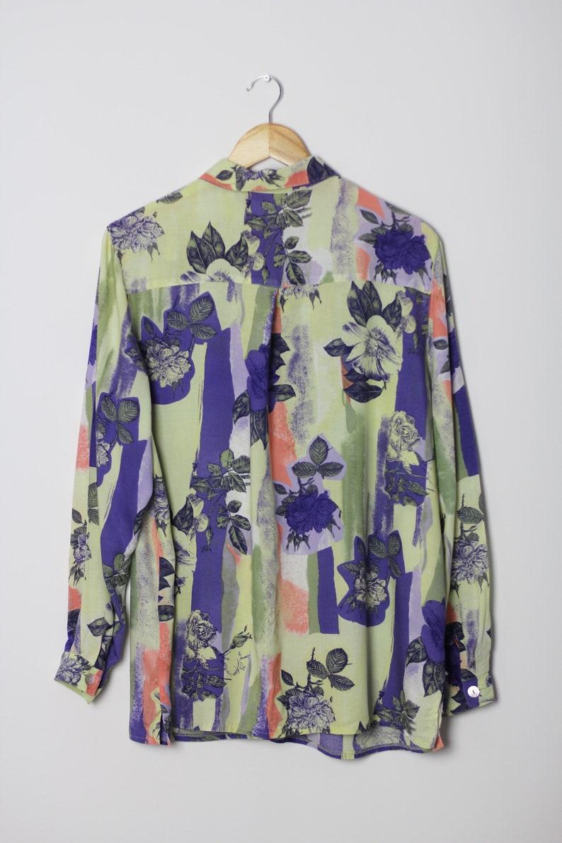 size XL Floral pattern women shirt Vintage blouse oversize