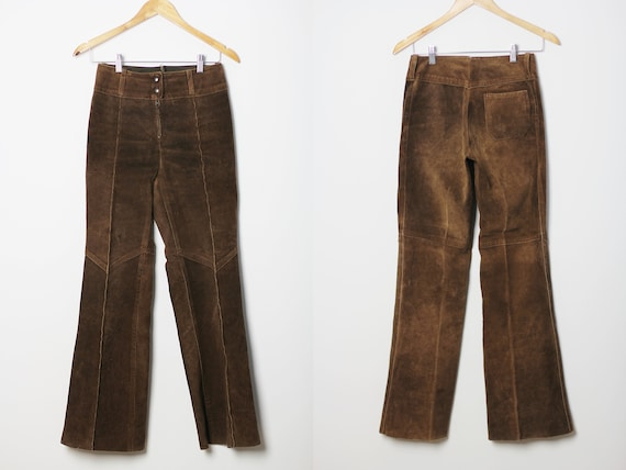 80s Leather bell bottoms with low rise, Vintage su