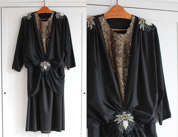Vintage black evening dress 1970's * size Large