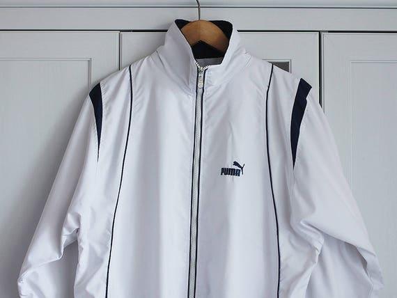 63eda8783ce5 PUMA Windbreaker Jacket Vintage 90s Tracksuit Activewear White