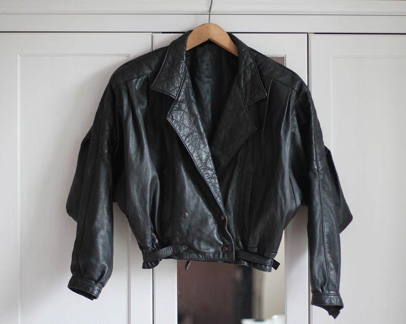 cd8892bae 90s black biker jacket for women * Vintage grunge leather jacket * size XL