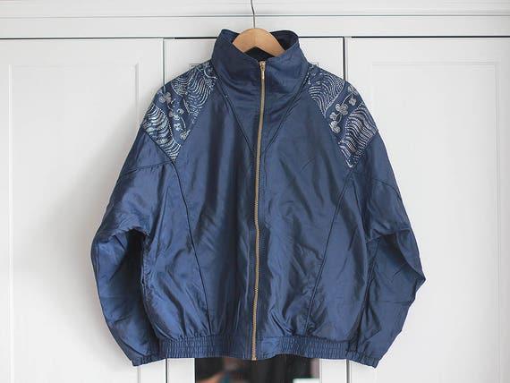 Vintage Windbreaker Jacke * 90er Jahre Sportjacke in blauer Farbe große Größe