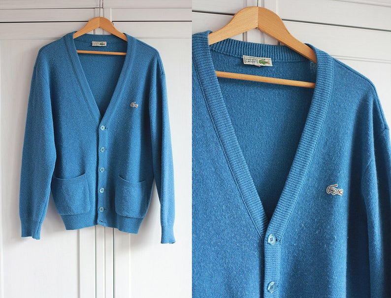 8259382ffa LACOSTE Chemise hommes pull en laine cardigan bleu Vintage | Etsy