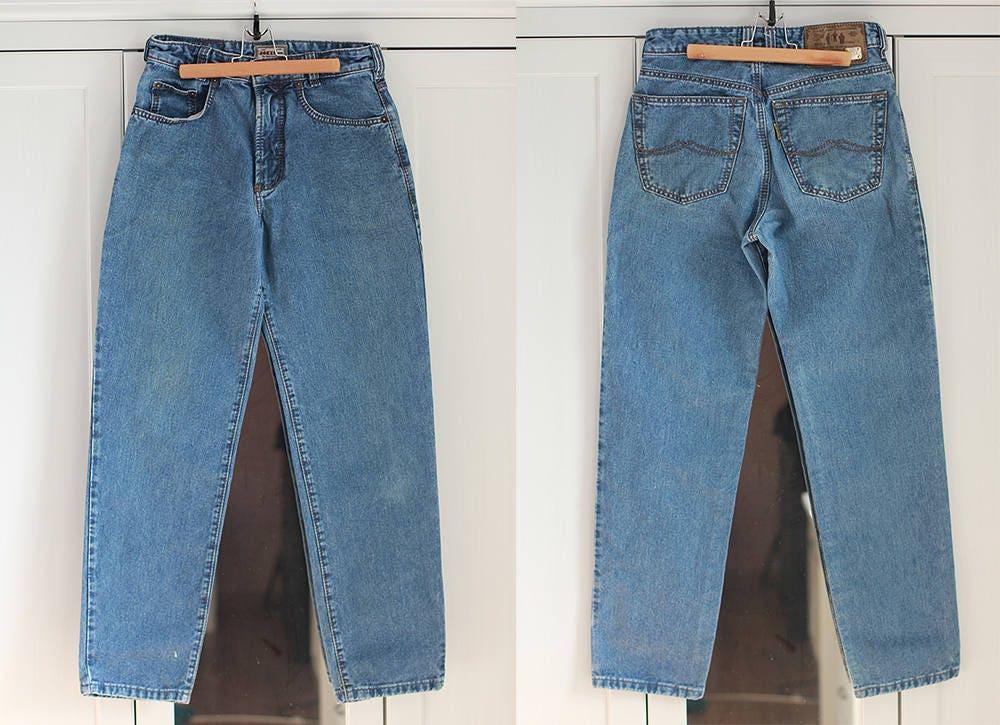 c7a0c35d15ba10 Haute taille haute Vintage lumière Jeans Denim pantalon classique Fit  lumière Vintage bleu couleur unisexe hommes