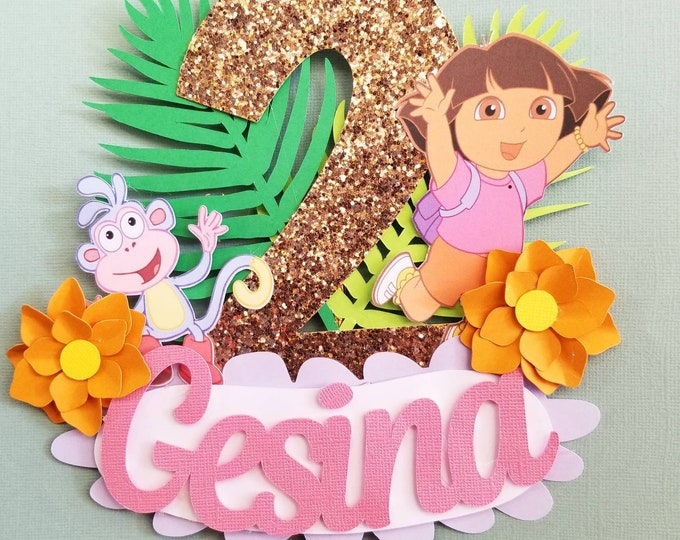 Dora the Explore Cake Topper with Age and Name