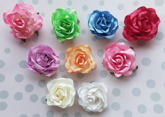 2 Paper Roses Rosa De Papel Flores Artificiales Etsy - Manualidades-con-flores-artificiales