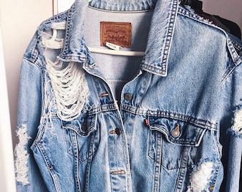 13e9256888 Ripped denim jacket     Vintage destroyed unisex oversized jeans jacket      Levi s Wrangler ALL SIZES