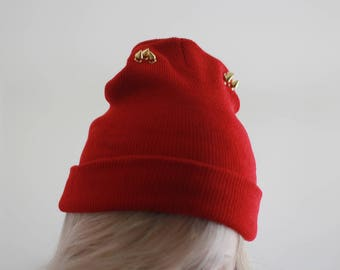 548ac86ef8e Studded beanie Handmade spiked beanie in dark red color Unique look hat  Street fashion Grunge look