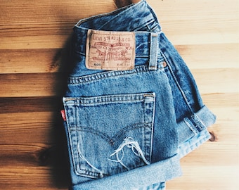 fc98a7f4c235 LEVI'S cuffed denim shorts with high rise *** Vintage cut offs from mom  jeans for summer *** ALL SIZES