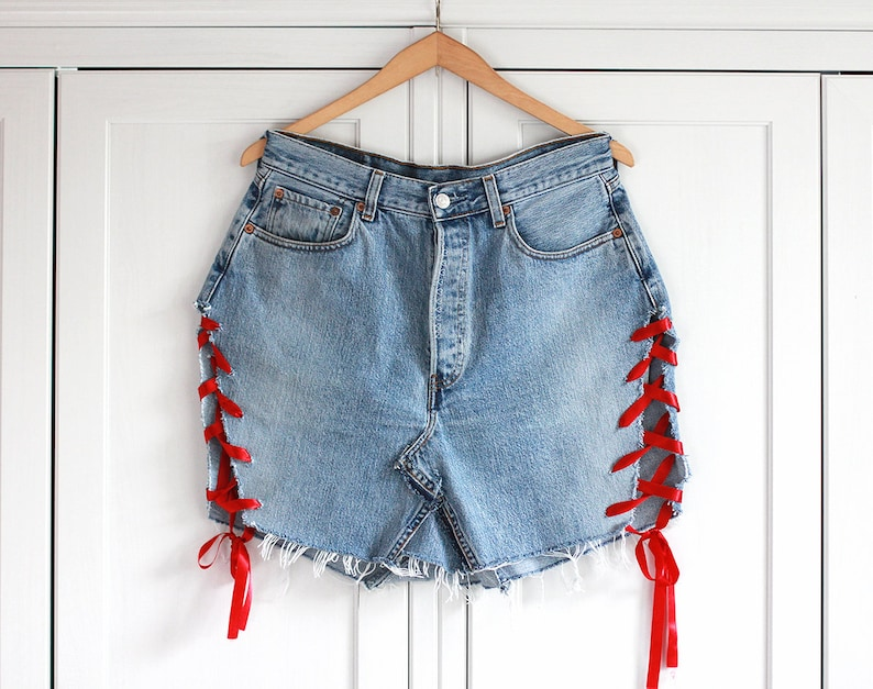 d77809aed06 LEVI S 508 denim skirt with red ribbon on side Vintage