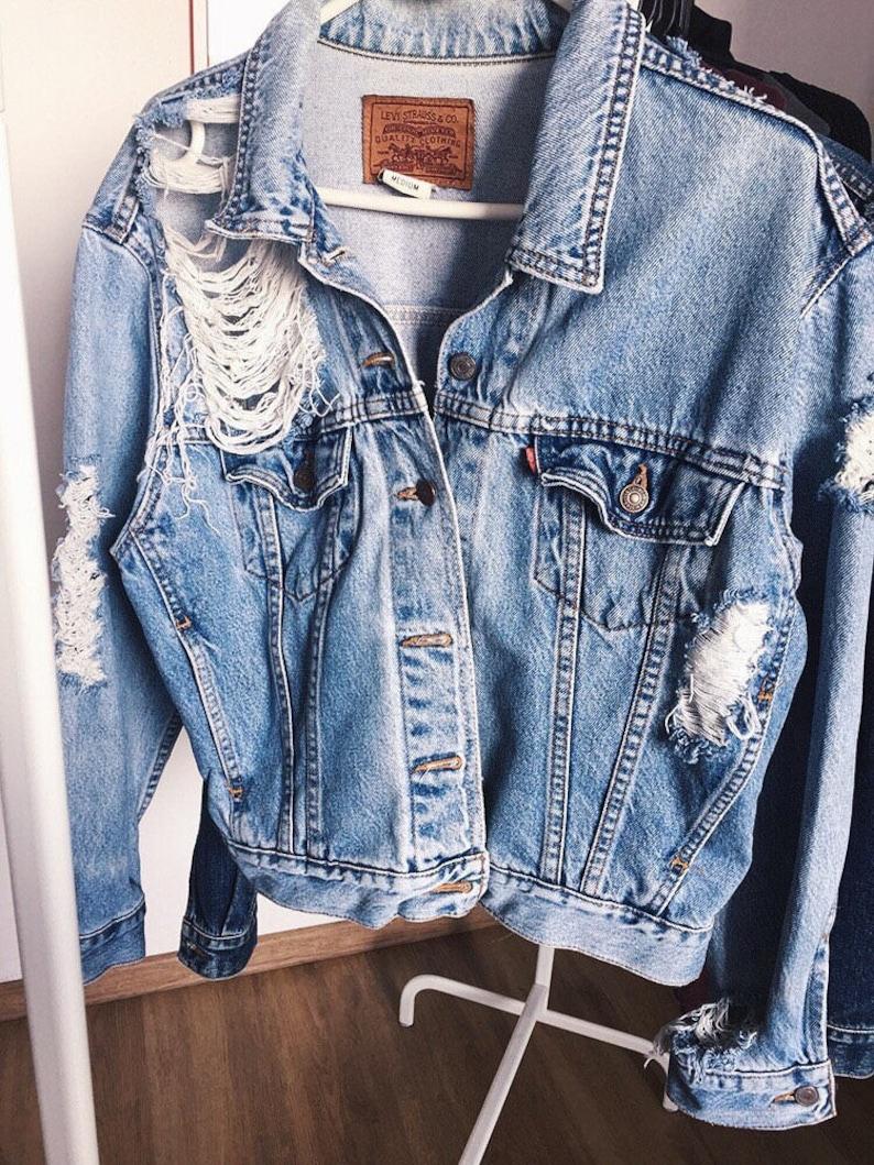 a48a4de5527 Ripped denim jacket Vintage destroyed unisex oversized