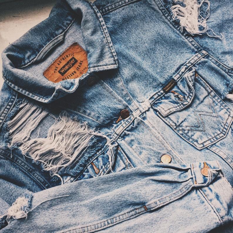Vintage Denim Jacket Ripped Jeans Levi s Wrangler Oversized Destroyed  Medium blue Summer festival Boho worn Grunge Unisex   Made to order ea9f9f930