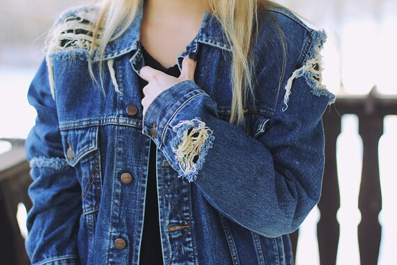 3cf0b4f1dbf Denim Jacket Ripped Jeans Levi s Wrangler Oversized Light