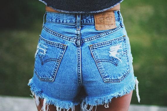 high waisted blue jean shorts