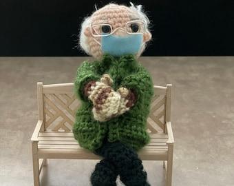 Bernie's Mittens Bernie Sanders Crochet Doll