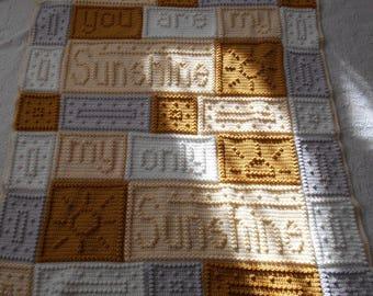 You are My Sunshine Crochet Word Popcorn Afghan Blanket