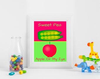 Sweet Pea Apple of My Eye Quote Print