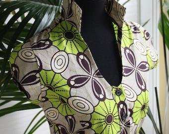 Gorgeous Green Ankara Cotton Blouse - TAINILU Brand