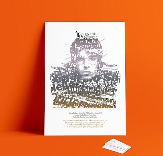 Home Art Decor Morning Glory Oasis Song Lyrics Typography Print Poster Artwork
