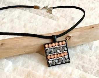 Pendant necklace, mini mosaic of fire-polished glass beads and shards of glass, unique creation
