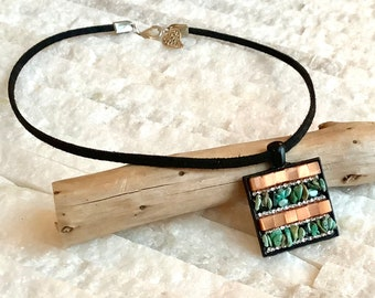 Pendant necklace, mini mosaic of natural stones and fire-polished glass beads, unique creation