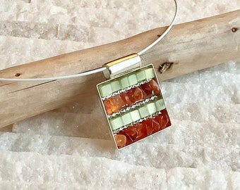Pendant necklace, mini mosaic of natural stones and glass beads, unique creation