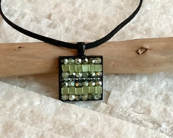 Pendant necklace, mini mosaic of fire-polished glass beads, unique creation