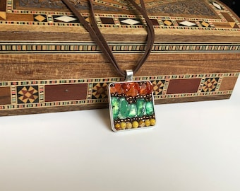 Pendant necklace in natural stones and glass beads, mini mosaic of fine stones, flush with neck for women
